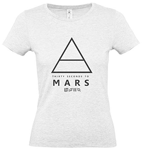 LaMAGLIERIA Damen-T-Shirt 30 Thirty Seconds to Mars Triangle Art Black Print - 100% Baumwolle Single Jersey pop Rock Band, M, Grau Ash