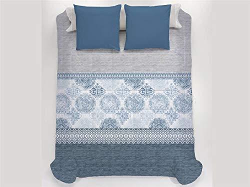 JAVIER LARRAINZAR Edredón Conforter Santorini Cama 180-Color Azul, 180 cm