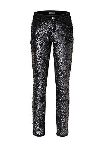 Jeans mit Pailletten Damen von Mandarin - Schwarz Gr. 40