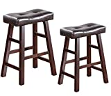 Legacy Decor Pair of 24' or 29' Dark Espresso Wood Barstools Wrapped in Espresso Bonded Faux Leather (29' HIGH)