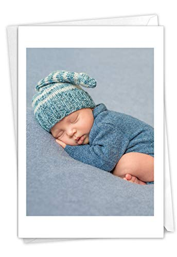 The Best Card Company Blissful Babies - Baby Greeting Card with Envelope (4.63 x 6.75 Inch) - Sleeping Newborn Boy C7180FBBG