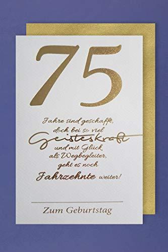 75 Geburtstag Karte Grußkarte Geisteskraft Foliendruck 16x11cm