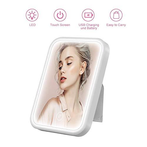 HOCOSY Kosmetikspiegel mit Licht, touchscreen spiegel, dimmbare rasierspiegel led Tageslichtspiegel schminken USB-wiederaufladbar/Batterieladung Make Up Spiegel