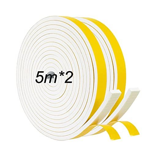 JBEIY Tira de Sellado Junta 12 mm (W) * 6 mm (H) * 10 m (L), Tiras de Sellado Autoadhesivas Prova di collisione y Aislamiento Acústico para Grietas y Espacios-Blanco