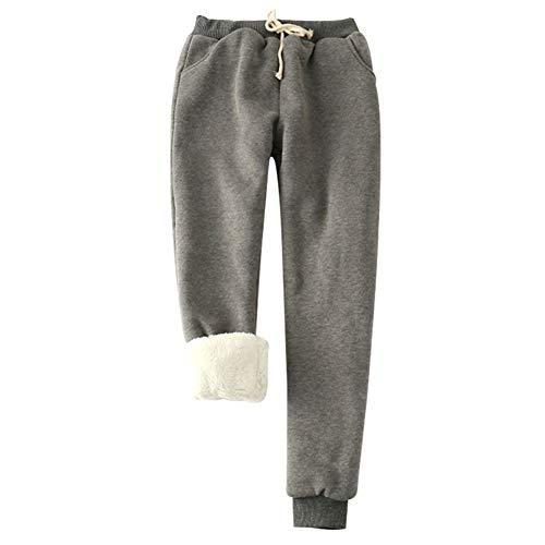 JsJr-K-In Pantalones de invierno para mujer, de imitación de cachemira, pantalones de harén gruesos, con forro polar, cálidos y casuales.