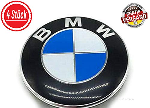 Unbekannt 4X 68mm Nabendeckel kompatibel für BMW Aufkleber gewölbt selbstklebend für Alufelgen Radkappen 1er 3er 4er 5er 6er 7er X3 X4 X5 X6 E46 F30 F10 F11 F20 F21 F25 F26 Sticker Felgenkappen