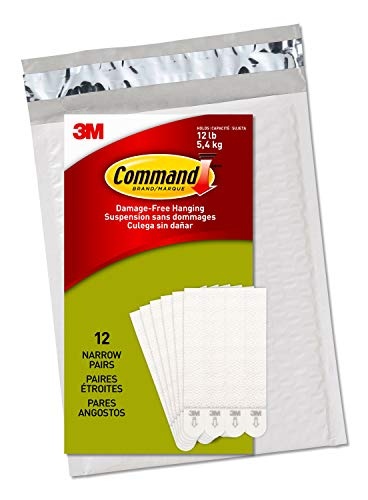 Command Narrow Picture Hanging Strips, White, 12-Pairs, Easy to Open Packaging