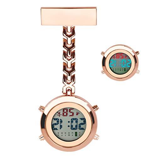 Reloj de Enfermera, Luckits Clip en Médico Reloj de Bolsillo Cuarzo Digital Reloj de Bolsillo Médico con luz de Fondo/Calendario/Despertador/cronómetro para Enfermera médico Mujeres (Oro Rosa)