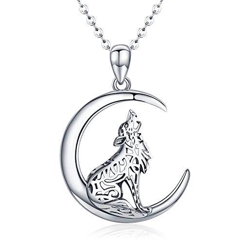 Cadena de lobo de plata de ley 925, colgante de luna de lobo, para mujer, joyería vikinga, regalo...
