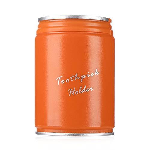 Portátil palillero Caja de almacenamiento automático Presión creativa palillo de dientes del hogar Tabla de contenedores palillo de dientes dispensador (naranja)