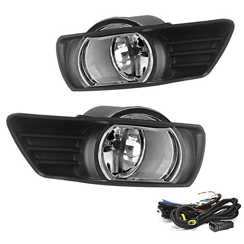 Driving Fog Lights Lamps Replacement for Toyota Camry 2007 2008 2009 with H11 12V 55W Halogen Bulbs & Universal Switch and Wiring Kit (Clear Lens)