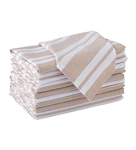Encasa Homes Dining Table Napkins 12 pcs Set of Large 43 x 43 cm (17 x 17 inch) - Franca Beige Stripes - Tissu de fête Absorbant en Coton épais Lavable en Machine pour Le Banquet du Restaurant
