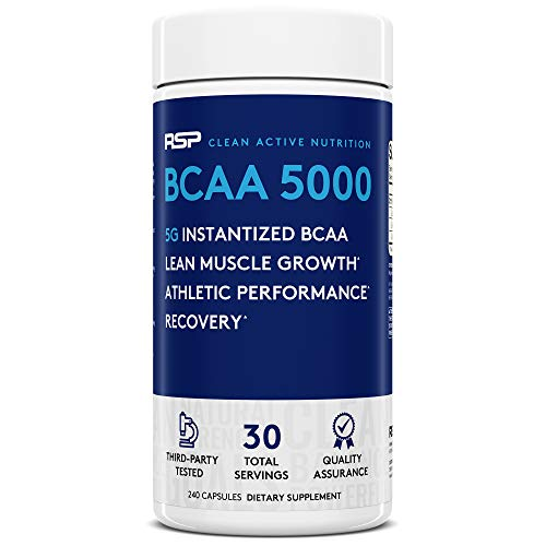 RSP Nutrition BCAA 5000: BCAA Capsules for Post Workout Muscle Recovery, Endurance and Energy, 240 Capsules *Packaging May Vary*