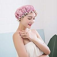女性のためのデラックスシャワーキャップすべて防水とカビ防止再利用可能な女性のための防水シャワーキャップ厚くされた二重層バス帽子(5個)