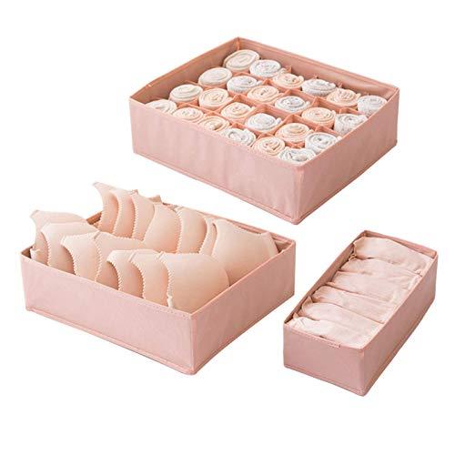 PUTAOYOU Conjunto de 3 Organizador de cajones para Ropa Interior, divisores de Armario Plegables Cajas de Almacenamiento para Calcetines, Sujetador, Ropa Interior, Bufandas (Color : Pink)