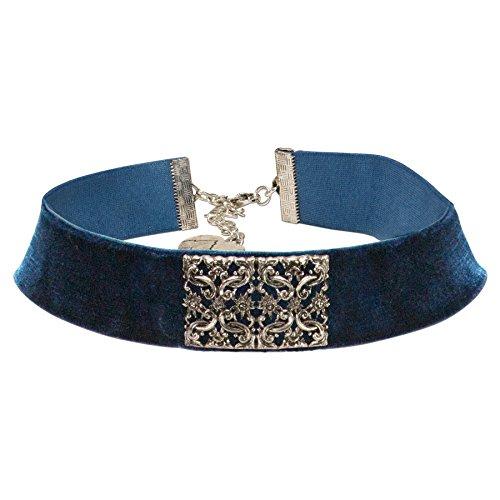 Alpenflüstern Trachten-Samt-Kropfband Ornament-Edelweiß - nostalgische Trachtenkette enganliegend, Kropfkette elastisch, eleganter Damen-Trachtenschmuck, Samtkropfband breit blau DHK208