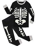 Boys Halloween Pajamas Skeleton-Glow-in-The-Dark Shirts Toddler Pjs Kids Clothes Sleepwear Size 4 Black
