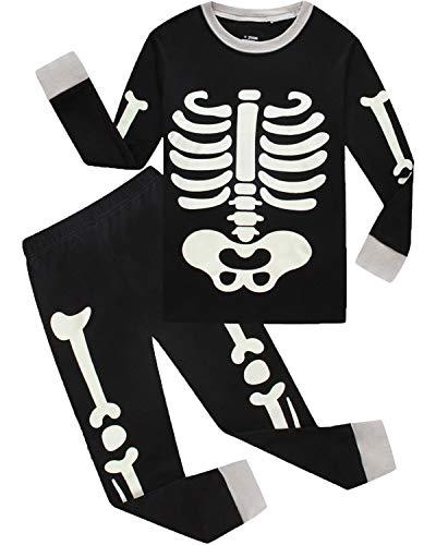 Boys Halloween Pajamas Skeleton-Glow-in-The-Dark Shirts Toddler Pjs...