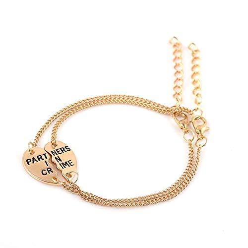 WANGJINQIAO 2 Piezas/Set MEJORÍA DE NIÑAS Pulsera Unisex Puzzle Heart Pulsera Forever Amistad Best Friend Jewelry Regalo Pulsera (Color : Gold)