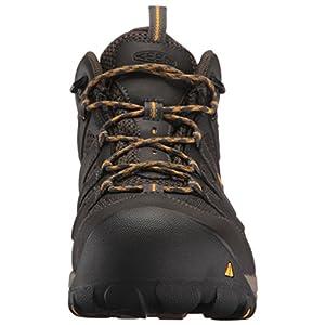 KEEN Utility Men's Lansing Mid Steel Toe Waterproof Work Boot Construction, Raven/Tawny Olive, 10.5D