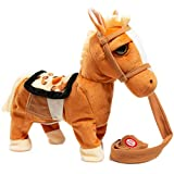 iBonny Stuffed Animal Plush Pony Toy My First Pony Walk Along Toy Realistic Walking Actions with Horse Sounds and Music Tan