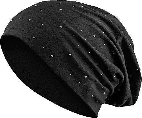 Jersey Baumwolle elastisches Long Slouch Beanie Unisex Herren Damen mit Strass Stern Steinen Mütze Heather in 35 (7) (Black)