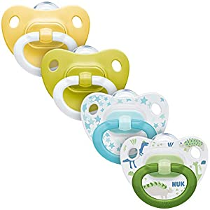 NUK Juego de 4 chupetes 2 chupetes Happy Days y 2 chupetes de moda, 6 – 18 meses, silicona, forma adaptada a la mandíbula, colores neutros