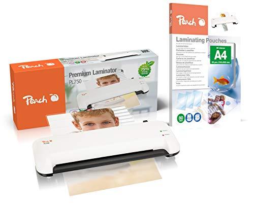 Peach PL750 Laminiergerät DIN-A4 | inkl. 20 gratis Laminierfolien | doppelt so schnell startklar als andere | laminiert mehr als 1,5 Seiten A4 pro Minute | Geeignet für alle handelsüblichen Folien