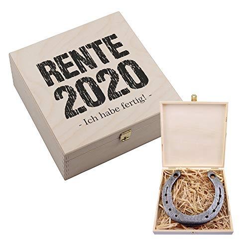 4youDesign Glücksbringer Hufeisen-Box • Rente 2020 - Ich Habe fertig! • Rente/Ruhestand/Pension - Abschiedsgeschenk Geschenk für Kollegen Freunde Mutter Vater Oma Opa