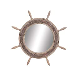 Benzara Elegant Styled Wood Ship Wheel Mirror