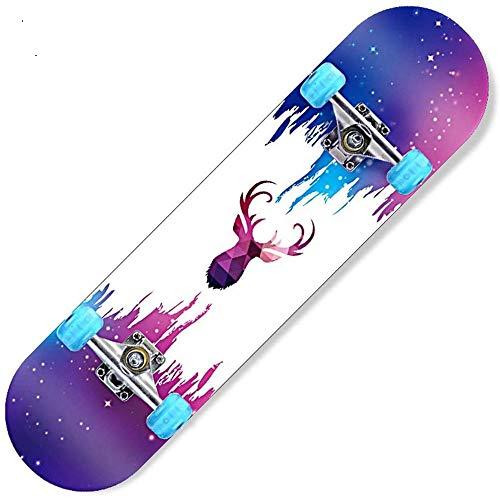Asdfax Skateboard débutant Patineta, patineta de Arce de 7 Capas con rodamientos ABEC-7 79 x 20 cm-mi