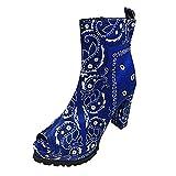 JDGY Botas de verano para mujer con tacón en bloque, estilo retro, impermeables, con plataforma abierta y transpirables., azul, 37 EU
