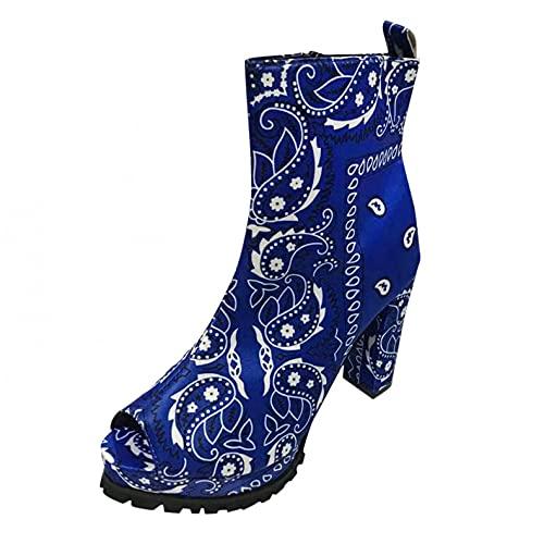 JDGY Botas de verano para mujer con tacón en bloque, estilo retro, impermeables, con plataforma abierta y transpirables., azul, 36 EU