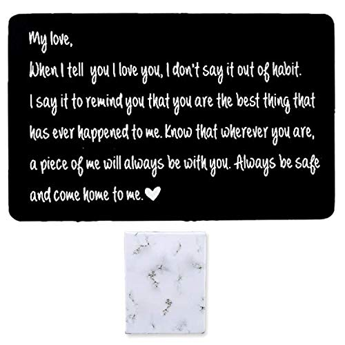 Engraved Wallet Card Insert for Men Boyfriend Husband Gifts for Him Personalized Cards Inserts Men Gift I love You Birthday Valentines Day Thanksgiving (black2)