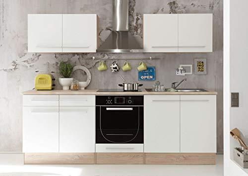 Stella Trading Küchenblock 240 cm breit weiß, ohne Elektrogeräte, Küche mit Absetzungen in Eiche Sonoma Nachbildung, Stellmaß 240 x 204 x 60 cm
