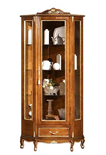Eckvitrine Stilmöbel 1 Glastür 1 Schubladen, Vitrine Seite aus Glas im klassischen Stil für Wohnzimmer Esszimmer, Stilmöbel Vitrine mit Füßen und in Oberteil Kranz, Möbel italienisch