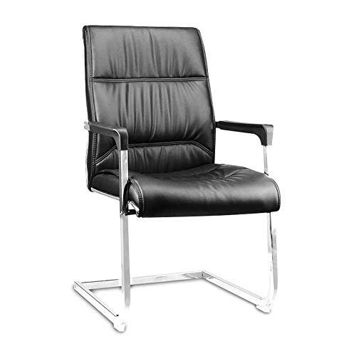 HJJK Sillas de ocio sillas de oficina con estilo Negro duradero PU comedor patas de la silla de respaldo alto cromo Mondren muebles duraderos fuerte