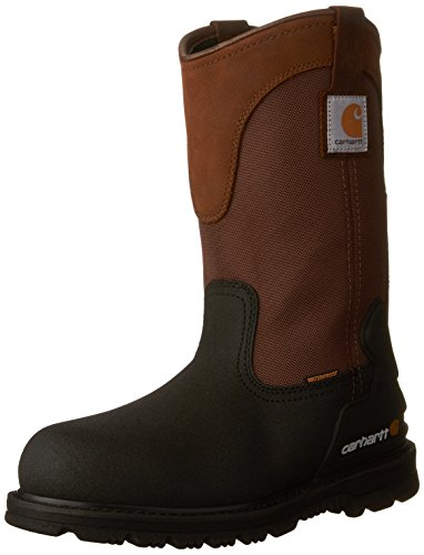 "Carhartt mens 11"" Wellington Waterproof Steel Toe Leather Pull-on Work Boot Cmp1259 Construction Shoe, Brown/Black Leather, 10.5 US"