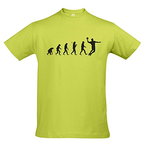 T-Shirt - Evolution - Handball Sport Fun Kult Shirt S-XXL, Apple Green - schwarz, S