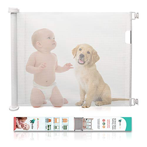 Retractable Baby Gate GIROBE Mesh Safety Gate for Babies and Pets 34quot Tall Extends to 54quot Wide Pet Dog Gate for doorways Stairs Hallways Indoor/Outdoor White
