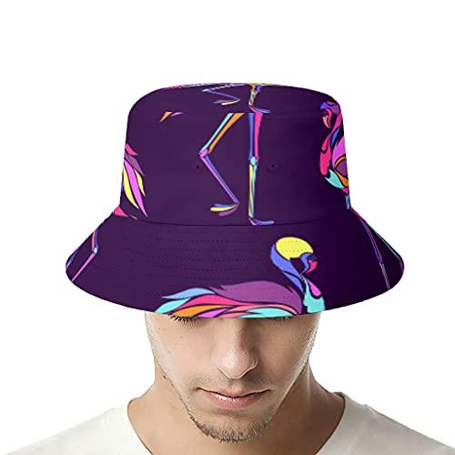 OwlOwlfan Sombrero colorido de los flamencos Bucker sombrero de poliéster sombrero de impresión de sol para senderismo camping viajes