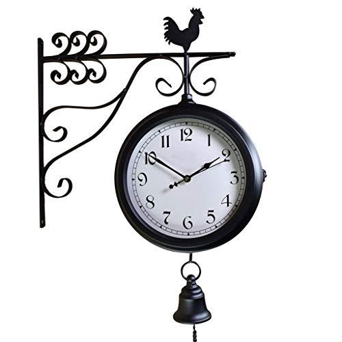 OUMIFA Relojes de Pared Hierro Forjado Antiguo Colgante de Pared Redondo de Doble Cara Reloj Retro Lado de la Pared decoración del hogar Reloj de Pared 360 ° rotación Grandes Relojes de Pared