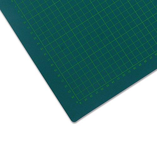 Selbstheilende Schneidematte, 90x120 cm | mit Hilfslinien, schont Klingen | Schneide-Unterlage, Cutting Board/Mat für Patchwork | grüne Bastelmatte, Bastelunterlage, Arbeitsunterlage | beidseitig verwendbar als Nähunterlage