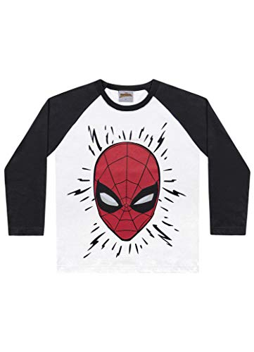 Camiseta Avulsa Manga Longa Spider Man, Fakini, Meninos, Branco/Preto, 10