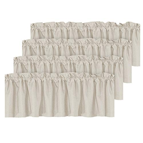 H.VERSAILTEX Blackout Linen Curtain Valances for Kitchen/Bathroom/Laundry - (4 Panels) Thermal Insulated Window Valances for Living Room/Bedroom Rod Pocket Casual Curtain 52x18 inch, True Ivory