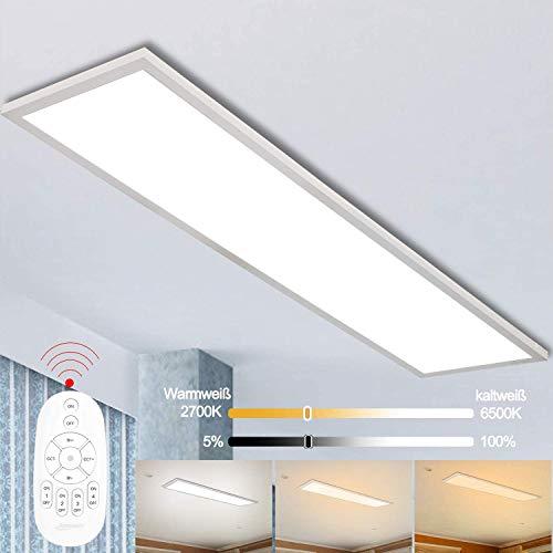Dimmbar LED Deckenleuchte Panel 120x30 cm mit Fernbedienung, 40W Super Deckenpanel Lampe mit Indirekter Starker Leuchtkraft Licht, Warm Natur Kalt Weiß Werkstattlampe Bürolampe Garage Wohnzimmer Lampe