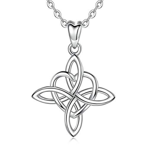 INFUSEU 925 mujeres collar de plata de ley, Infinito Amor sin fin irlandesa celta colgante del nudo de amor con la cadena 18' encanto de joyería, regalos para damas