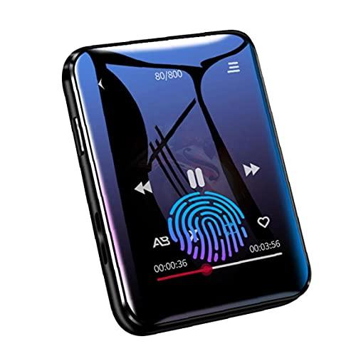 Tuimiyisou MP3 acústica Bluetooth Reproductor de música con 16G de Almacenamiento de Pantalla táctil Completa Llevar fácilmente FM Radio grabadora de música Reproducción Negro