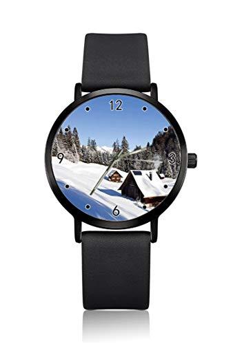 Herren-Armbanduhr, mit Holzhäusern, Bergszene im Winter, ultradünnes Gehäuse, minimalistisch, analoges Zifferblatt, schlankes Uhrwerk, Japanisches Quarz-Uhrwerk