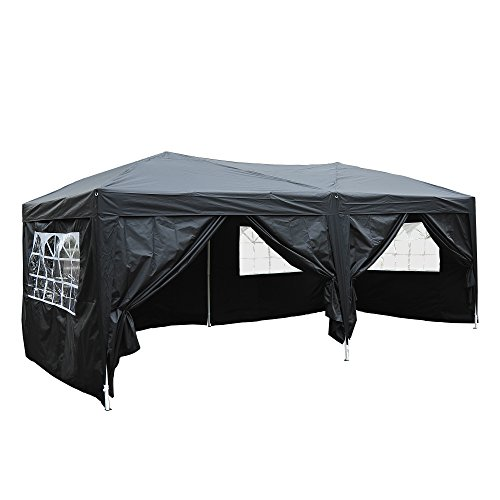 Outsunny 3 x 6m Garden Heavy Duty Pop Up Gazebo Marquee Party Tent Wedding Water Resistant Awning Canopy (Black) With free Storage Bag Black
